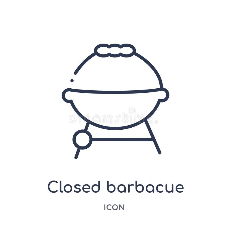 Linear closed barbacue icon from Food outline collection. Thin line closed barbacue icon isolated on white background. closed vector illustration