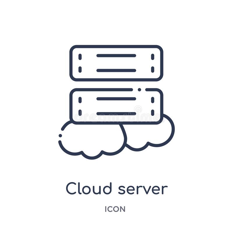 Linear cloud server icon from Networking outline collection. Thin line cloud server icon isolated on white background. cloud stock illustration