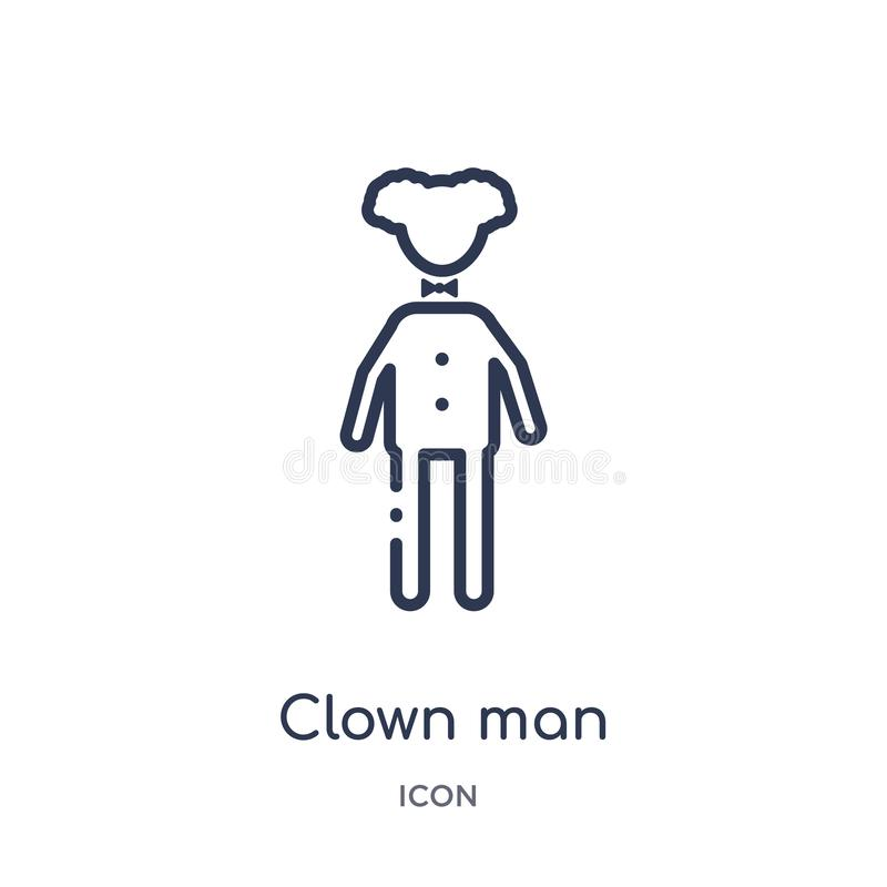 Linear clown man icon from Circus outline collection. Thin line clown man vector isolated on white background. clown man trendy stock illustration