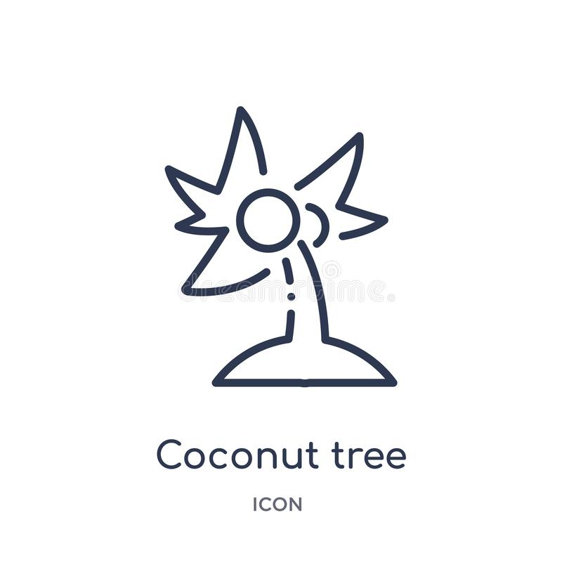 Linear coconut tree icon from Ecology outline collection. Thin line coconut tree vector isolated on white background. coconut tree. Trendy illustration stock illustration