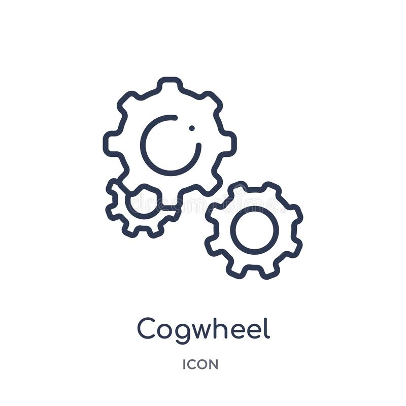 Linear cogwheel icon from Creative process outline collection. Thin line cogwheel vector isolated on white background. cogwheel royalty free illustration