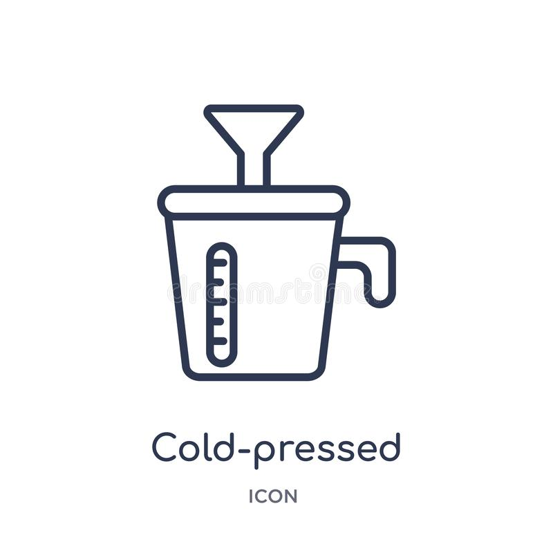 Linear cold-pressed juicer icon from Electronic devices outline collection. Thin line cold-pressed juicer vector isolated on white. Background. cold-pressed stock illustration