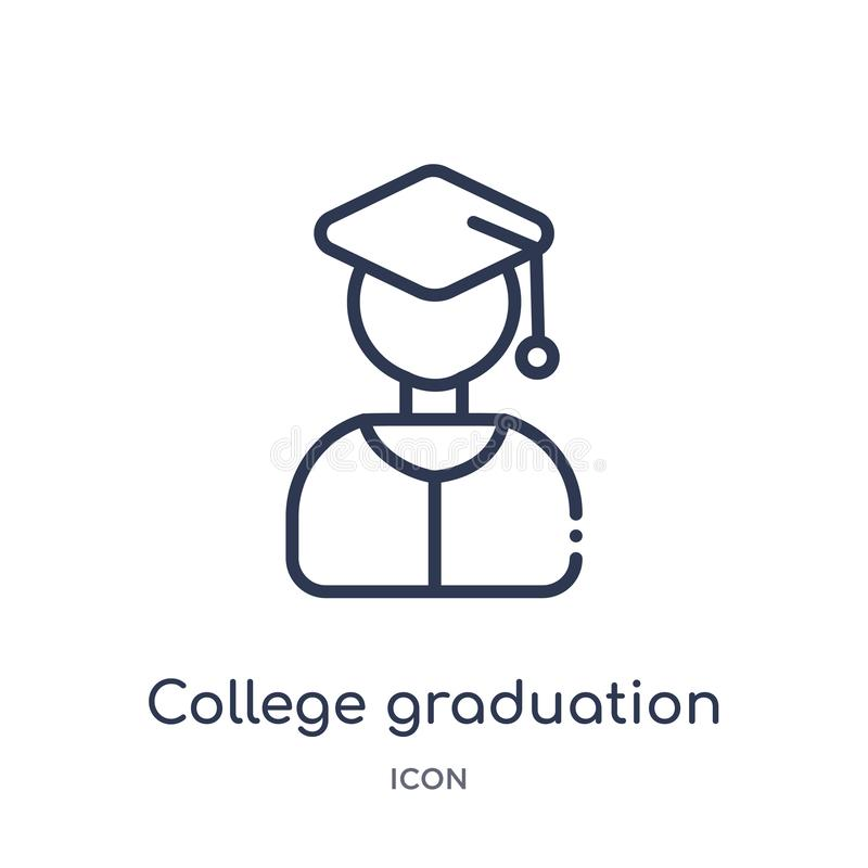 Linear college graduation icon from Education outline collection. Thin line college graduation icon isolated on white background. royalty free illustration