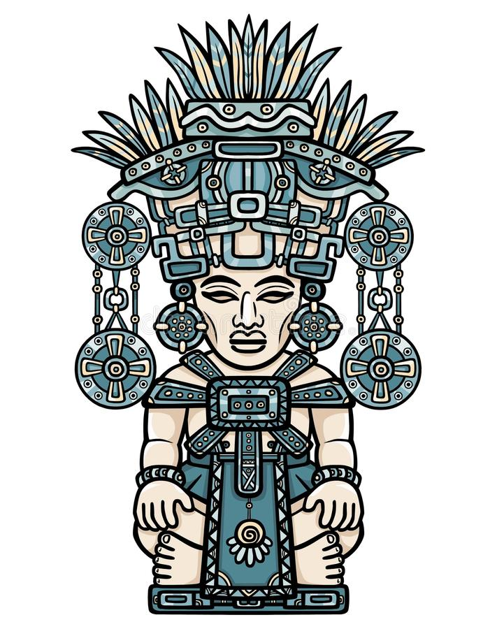 Free Linear Color Drawing: Decorative Image Of An Indian Deity. Motives Of Art Of Indians Maya. Stock Photo - 73645630