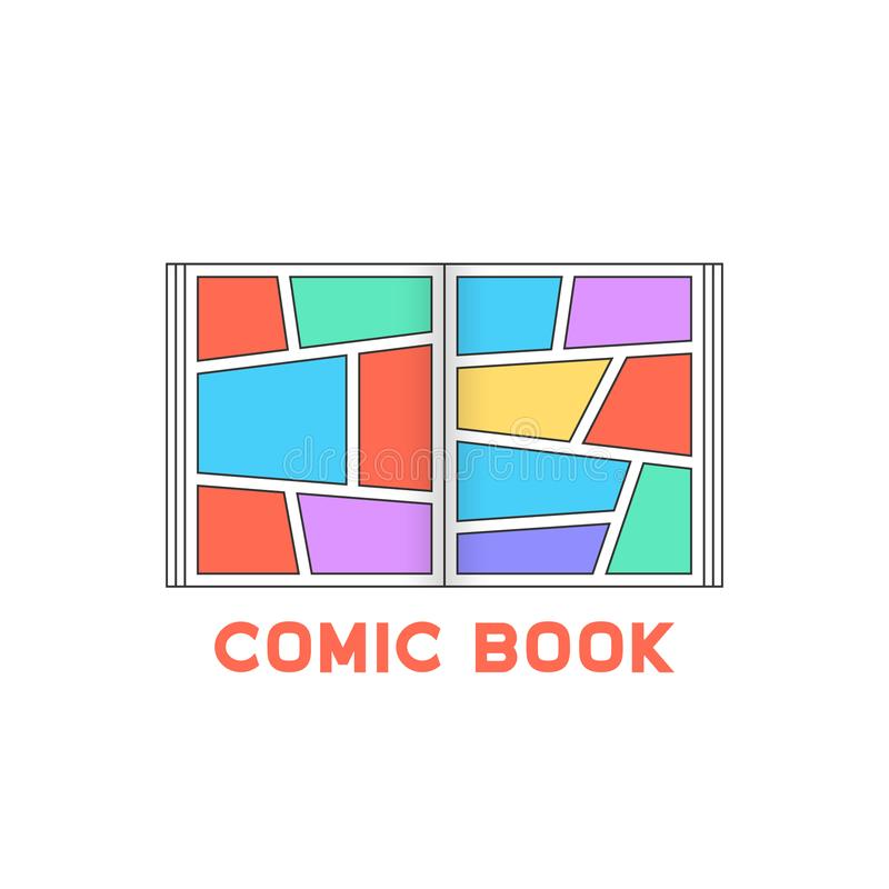 Linear colored comic book logo royalty free illustration