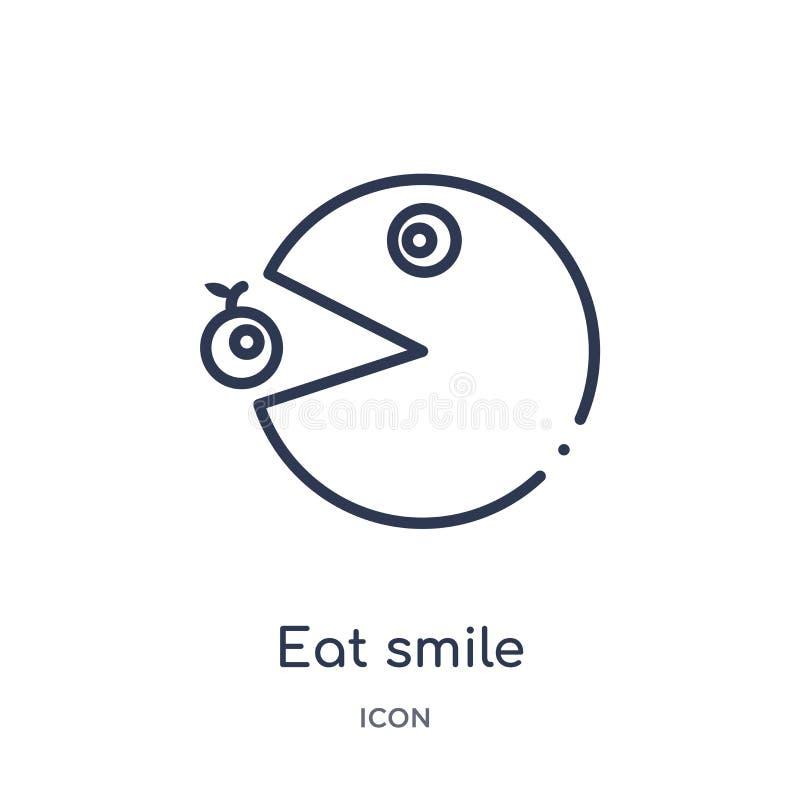 Linear coma o ícone do sorriso do entretenimento e da coleção do esboço da arcada A linha fina come o vetor do sorriso isolada no ilustração royalty free