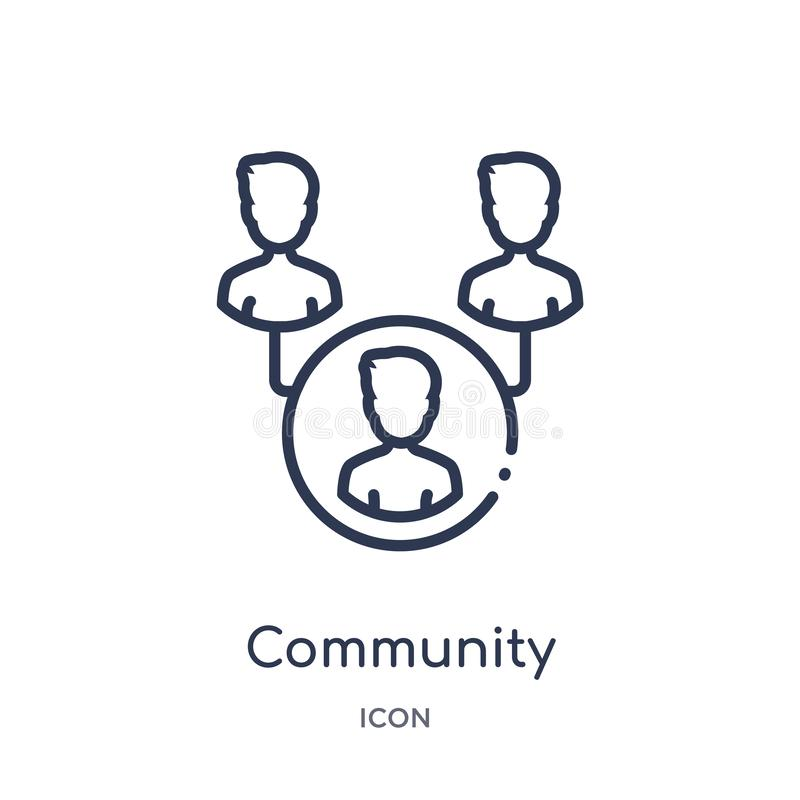 Linear community icon from Blogger and influencer outline collection. Thin line community vector isolated on white background. stock illustration