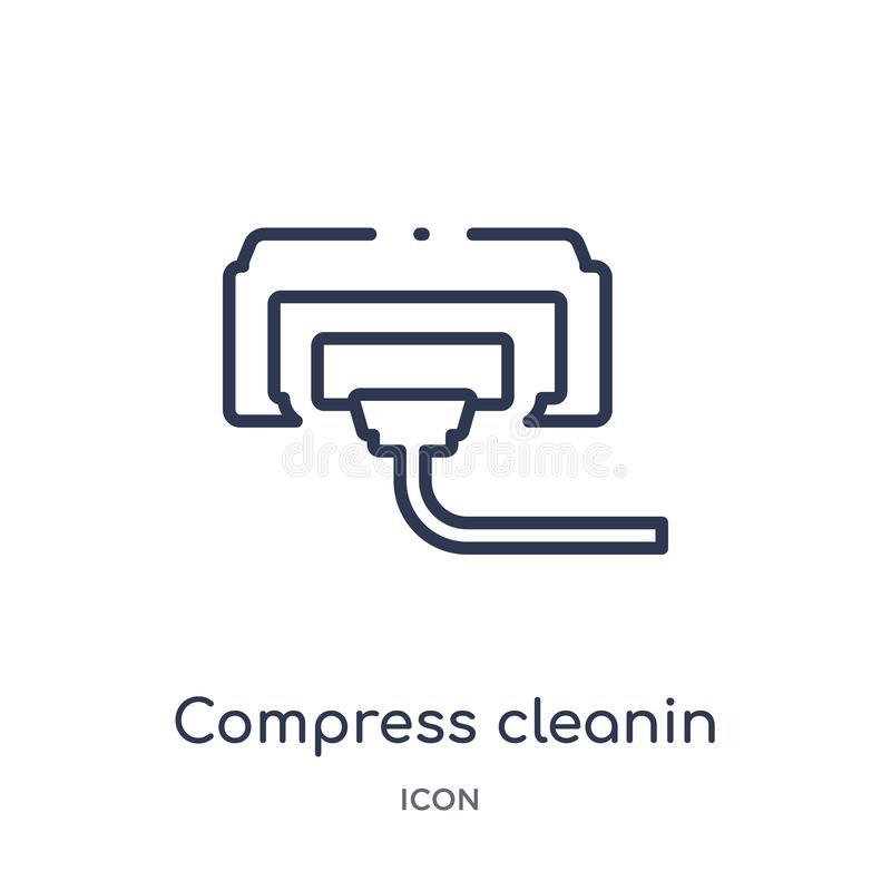 Linear compress cleanin icon from Cleaning outline collection. Thin line compress cleanin vector isolated on white background. Compress cleanin trendy stock illustration