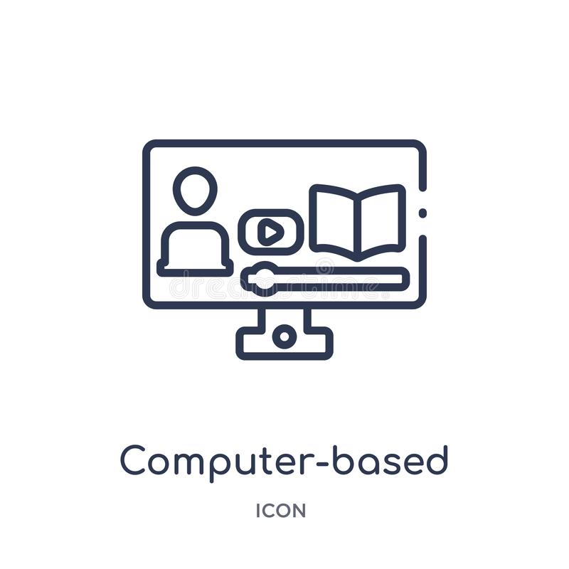 Linear computer-based training icon from Elearning and education outline collection. Thin line computer-based training vector royalty free illustration