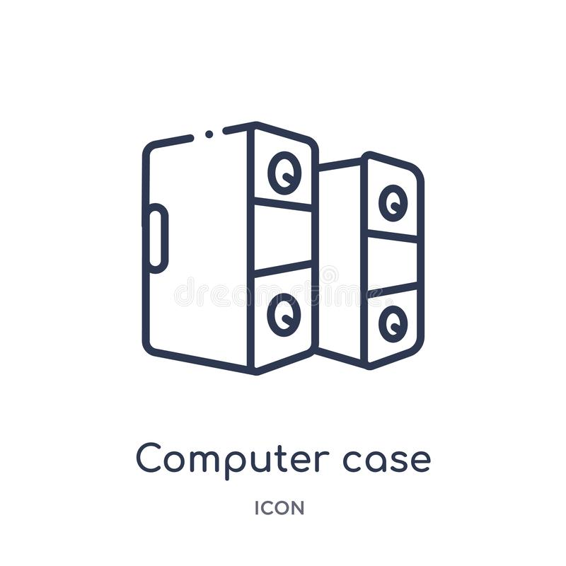 Linear computer case icon from Hardware outline collection. Thin line computer case icon isolated on white background. computer vector illustration