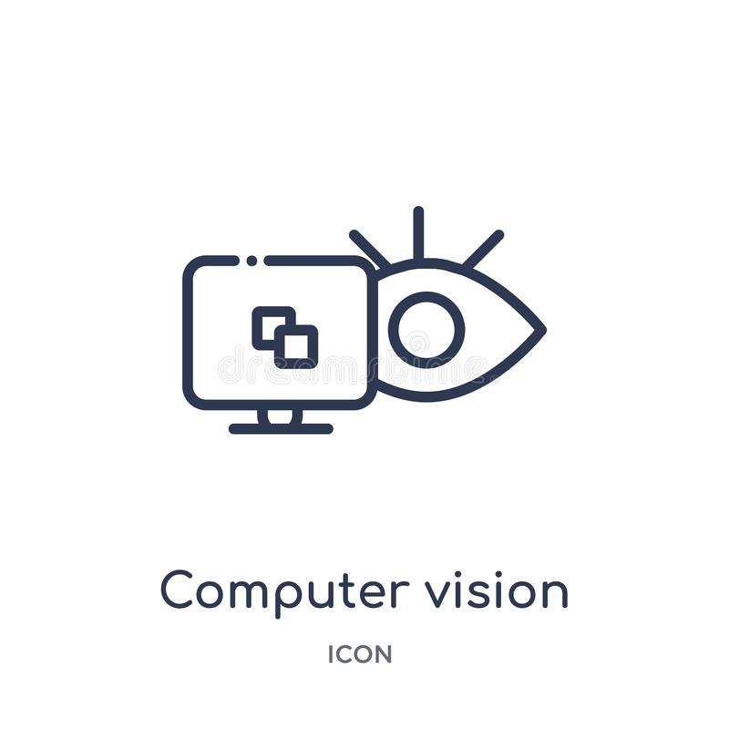 Linear computer vision icon from General outline collection. Thin line computer vision icon isolated on white background. computer vector illustration