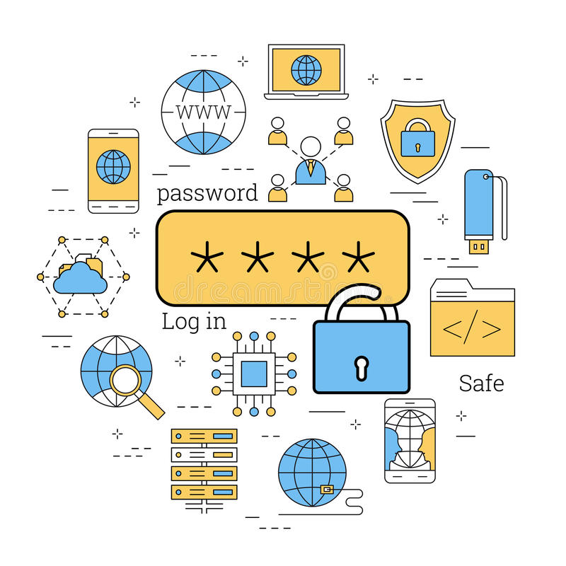 Linear concept of safe using of internet. Vector linear round concept of safe using of internet. Access with password is locked. Isolated illustration with vector illustration