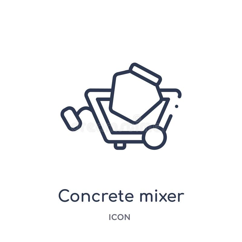 Linear concrete mixer icon from Construction tools outline collection. Thin line concrete mixer vector isolated on white stock illustration