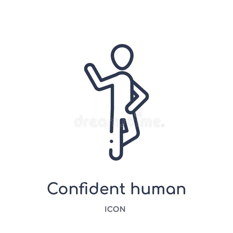 Linear confident human icon from Feelings outline collection. Thin line confident human vector isolated on white background. vector illustration