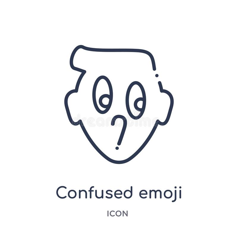 Linear confused emoji icon from Emoji outline collection. Thin line confused emoji vector isolated on white background. confused vector illustration