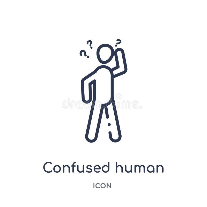 Linear confused human icon from Feelings outline collection. Thin line confused human vector isolated on white background. vector illustration