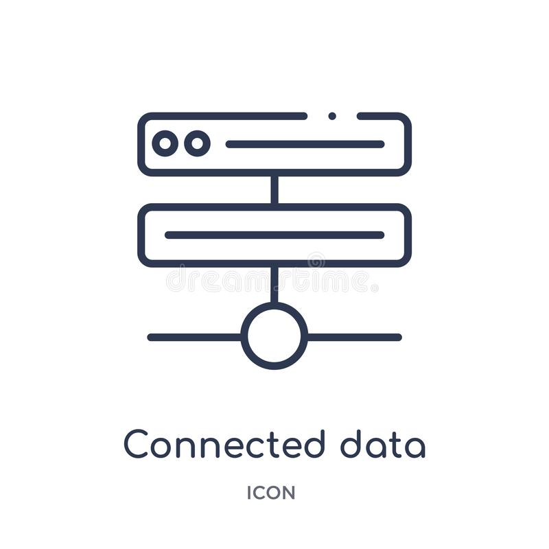 Linear connected data icon from Business and analytics outline collection. Thin line connected data vector isolated on white stock illustration