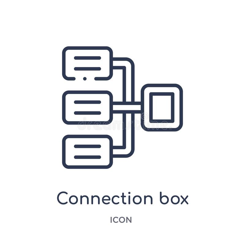 Linear connection box chart icon from Business outline collection. Thin line connection box chart icon isolated on white stock illustration