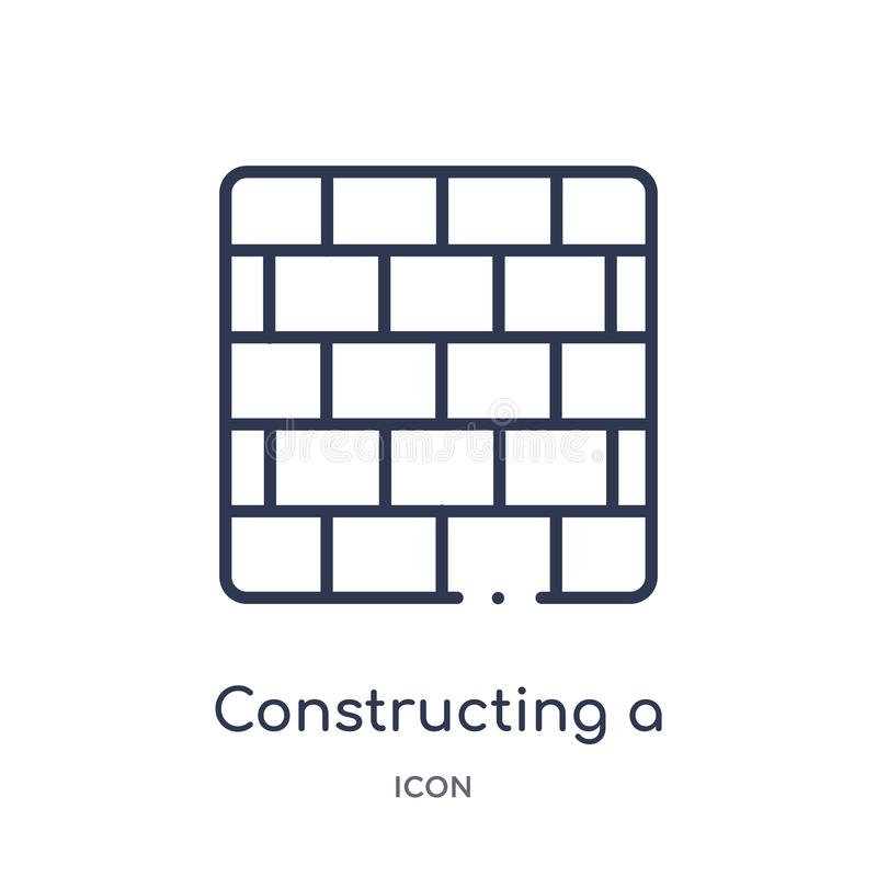 Linear constructing a brick wall icon from Construction outline collection. Thin line constructing a brick wall vector isolated on. White background royalty free illustration