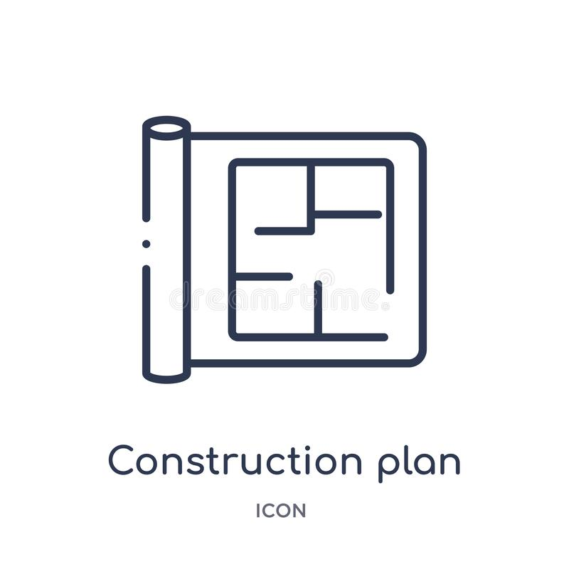 Linear construction plan icon from Construction outline collection. Thin line construction plan vector isolated on white stock illustration