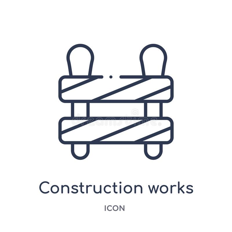 Linear construction works icon from Construction tools outline collection. Thin line construction works vector isolated on white vector illustration