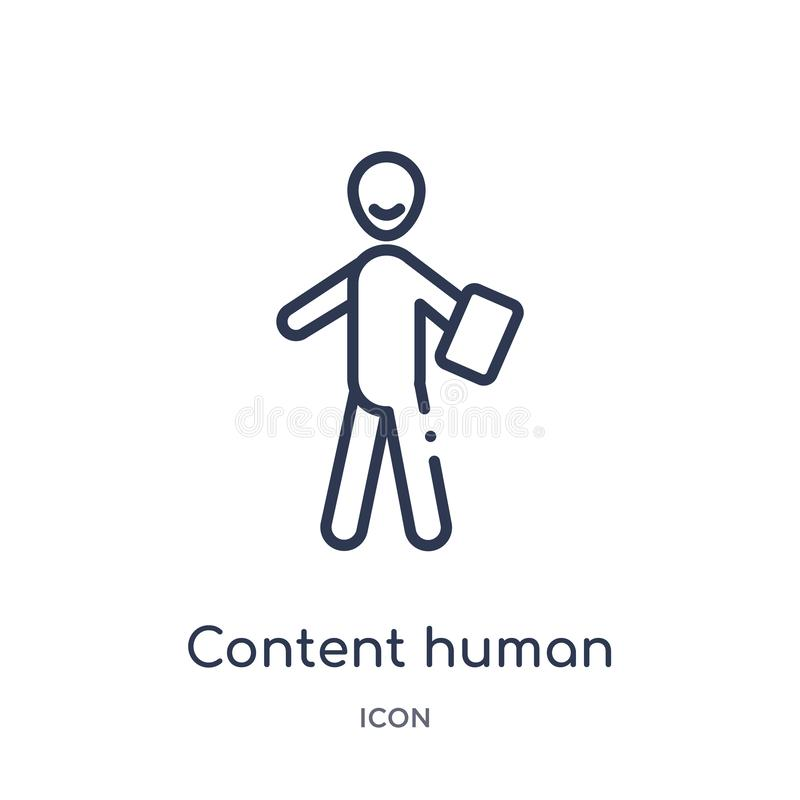 Linear content human icon from Feelings outline collection. Thin line content human vector isolated on white background. content vector illustration