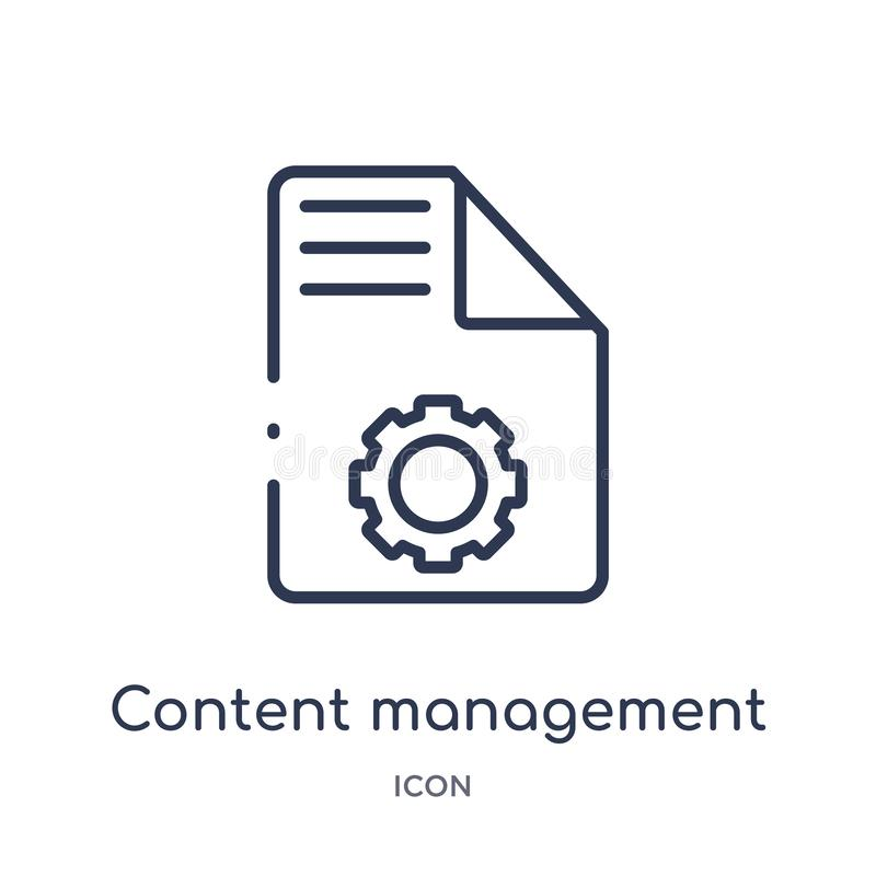 Linear content management icon from Marketing outline collection. Thin line content management icon isolated on white background. royalty free illustration