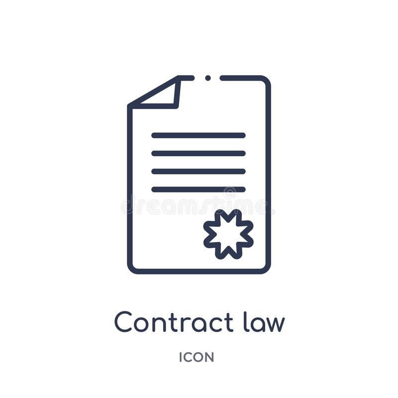 Linear contract law icon from Law and justice outline collection. Thin line contract law icon isolated on white background. royalty free illustration