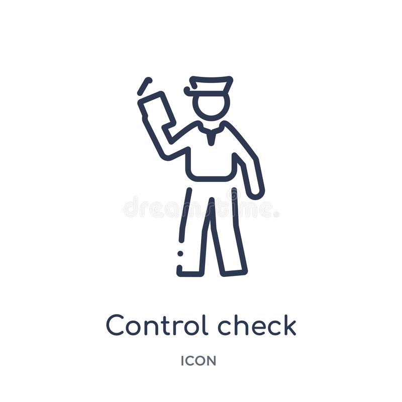 Linear control check icon from Airport terminal outline collection. Thin line control check vector isolated on white background. royalty free illustration