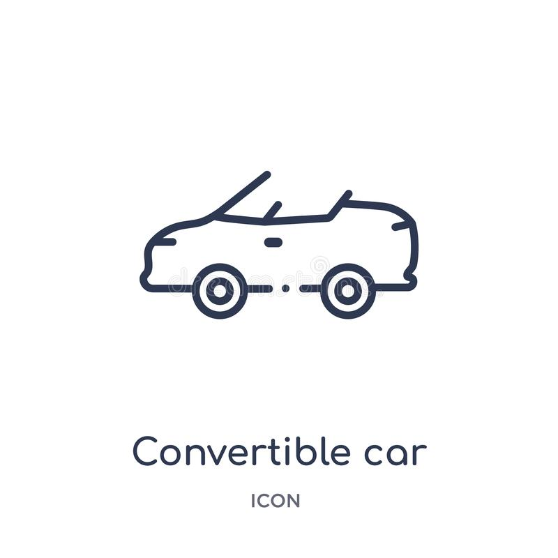 Linear convertible car icon from Mechanicons outline collection. Thin line convertible car icon isolated on white background. vector illustration