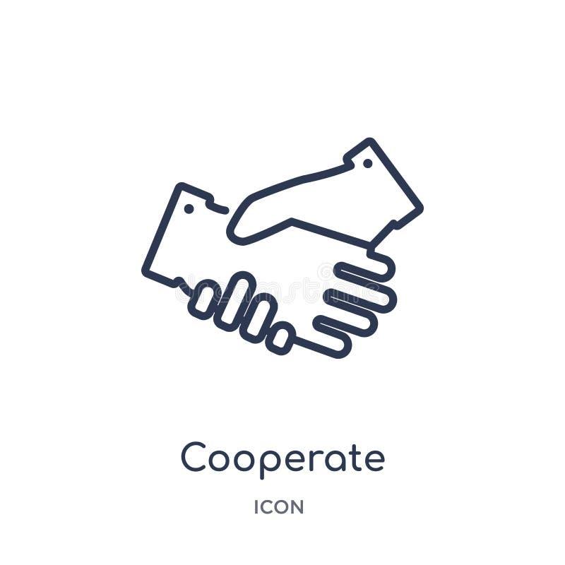 Linear coopera o ícone da coleção do esboço do negócio A linha fina coopera ícone isolado no fundo branco coopere na moda ilustração stock