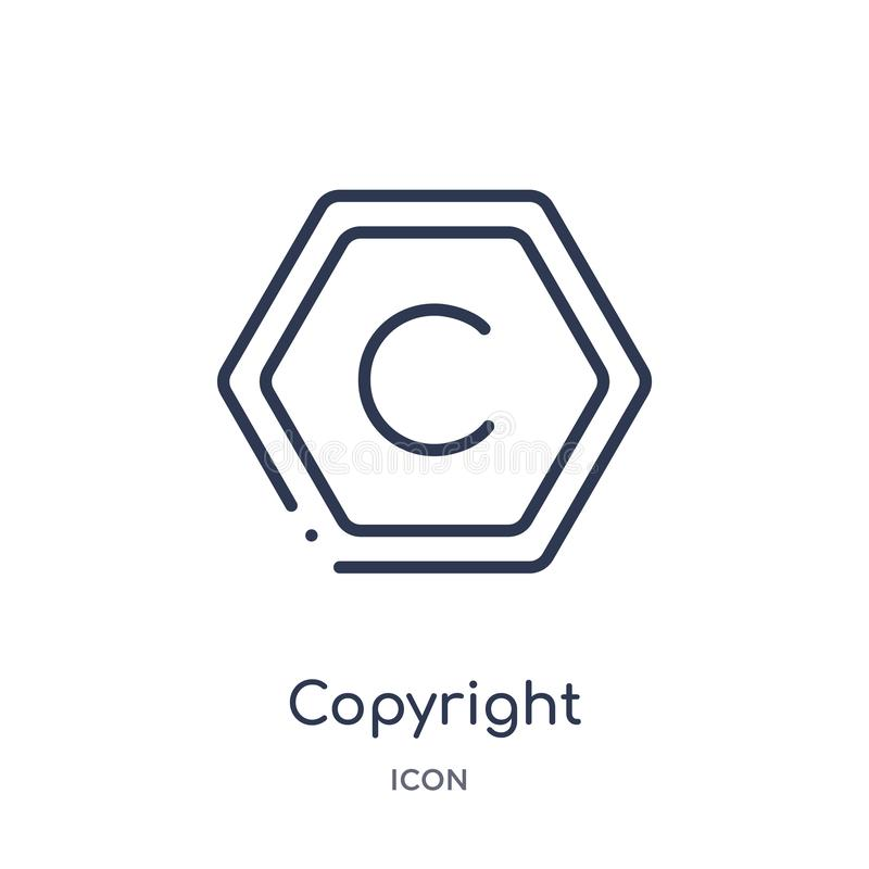 Linear copyright icon from Content outline collection. Thin line copyright vector isolated on white background. copyright trendy stock illustration