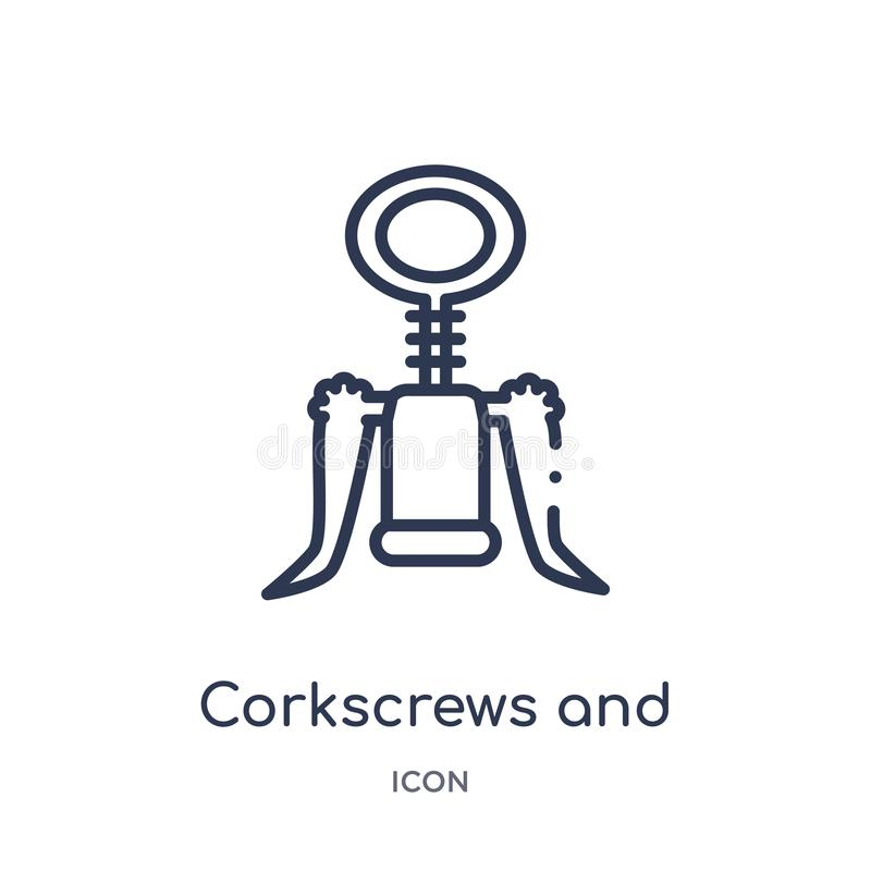 Linear corkscrews and bottle of wine icon from Drinks outline collection. Thin line corkscrews and bottle of wine vector isolated stock illustration