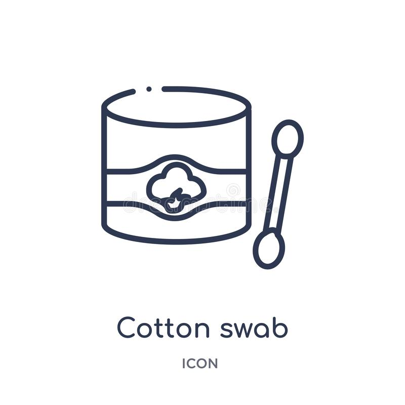 Linear cotton swab icon from Hygiene outline collection. Thin line cotton swab icon isolated on white background. cotton swab stock illustration