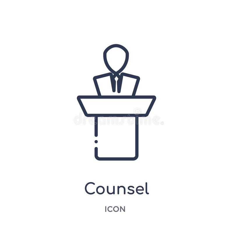 Linear counsel icon from Law and justice outline collection. Thin line counsel icon isolated on white background. counsel trendy royalty free illustration