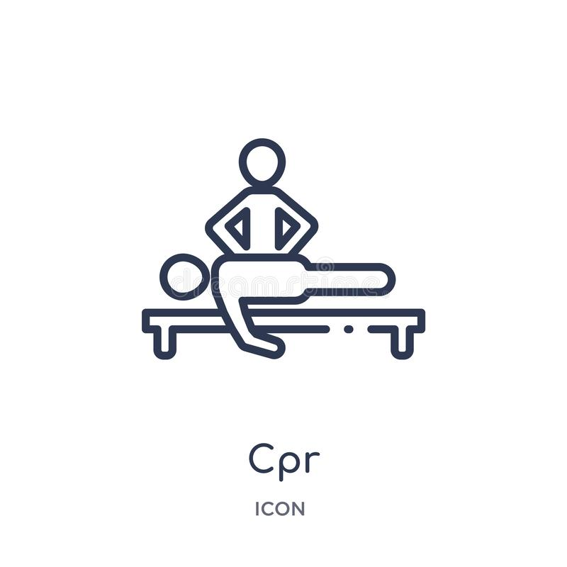 Linear cpr icon from Humans outline collection. Thin line cpr icon isolated on white background. cpr trendy illustration vector illustration