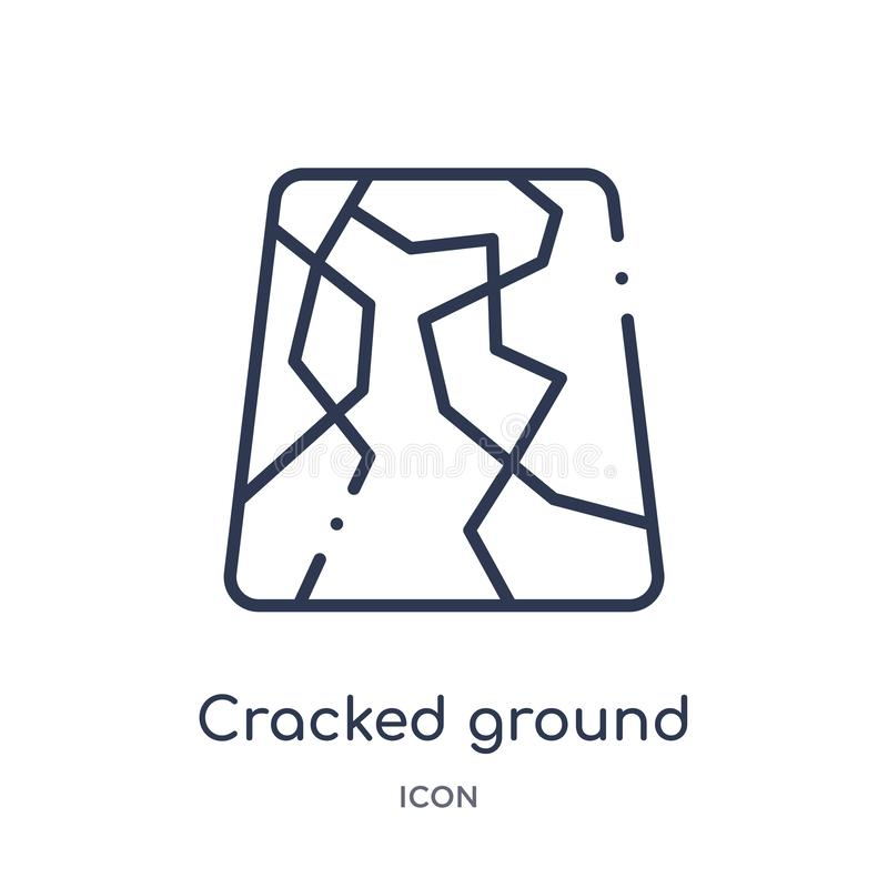 Linear cracked ground icon from Meteorology outline collection. Thin line cracked ground icon isolated on white background. Cracked ground trendy illustration stock illustration