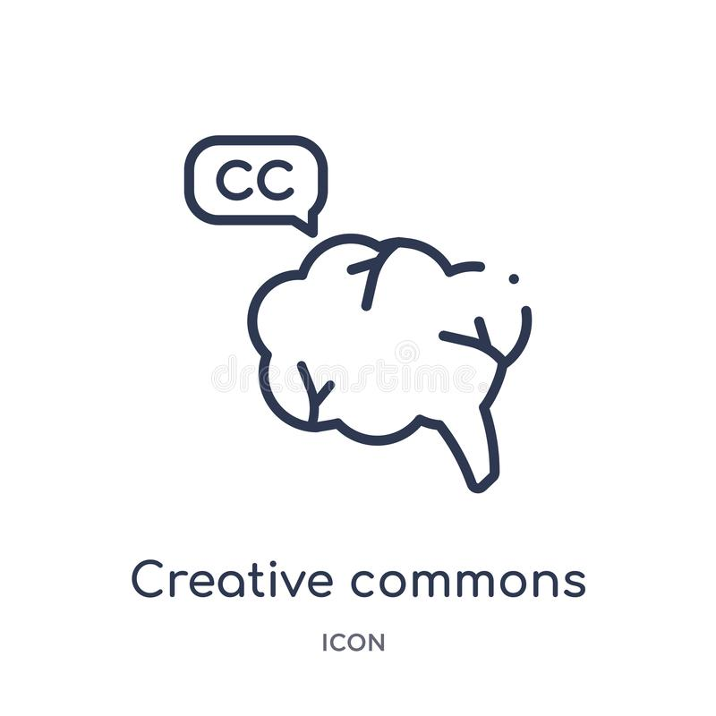 Linear creative commons icon from Content outline collection. Thin line creative commons vector isolated on white background. royalty free illustration