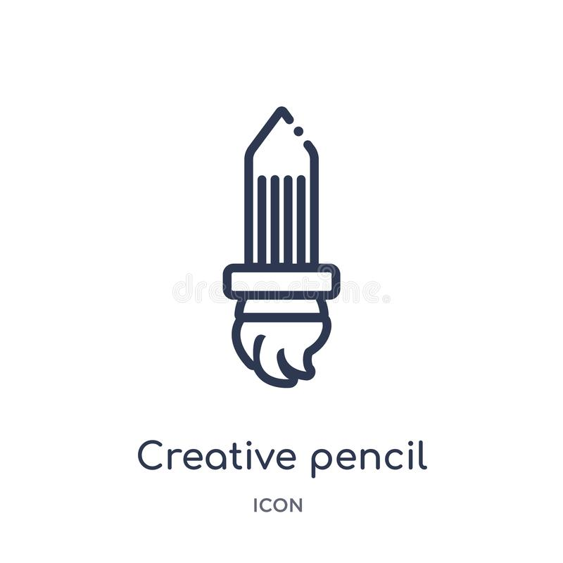 Linear creative pencil rocket icon from General outline collection. Thin line creative pencil rocket icon isolated on white vector illustration
