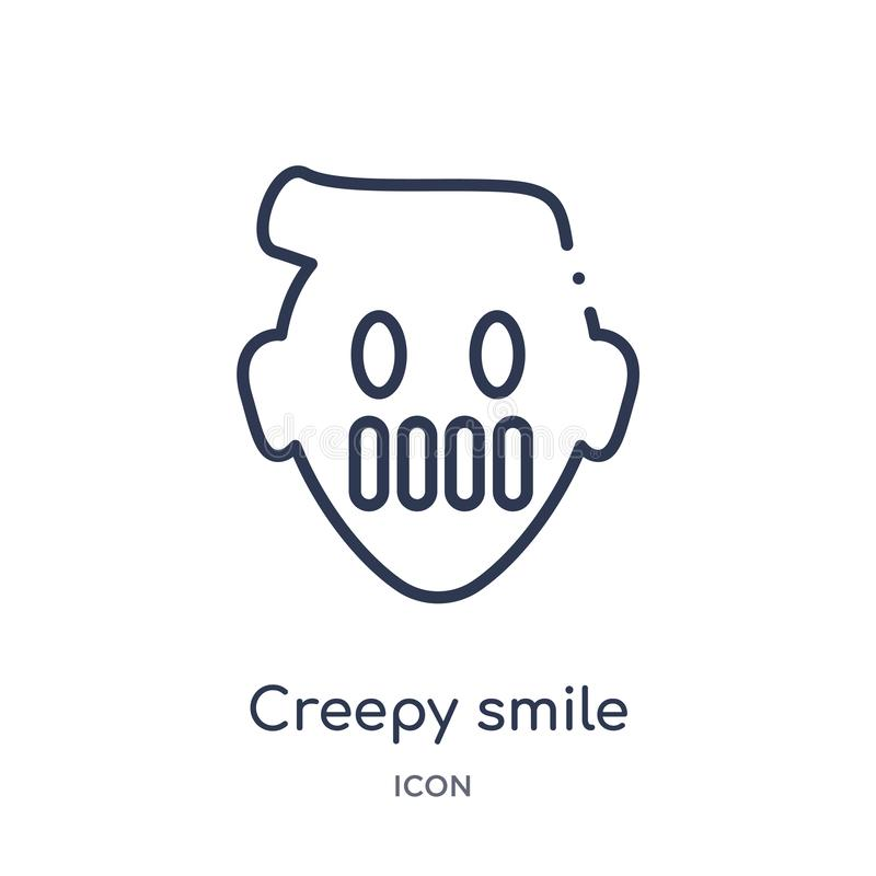 Linear creepy smile icon from Emoji outline collection. Thin line creepy smile vector isolated on white background. creepy smile vector illustration