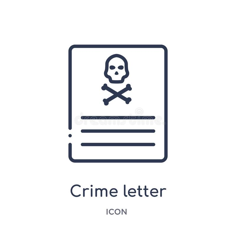 Linear crime letter icon from Law and justice outline collection. Thin line crime letter icon isolated on white background. crime royalty free illustration