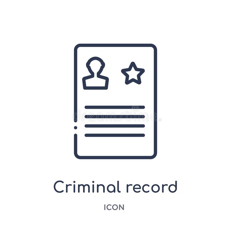 Linear criminal record icon from Law and justice outline collection. Thin line criminal record icon isolated on white background. royalty free illustration