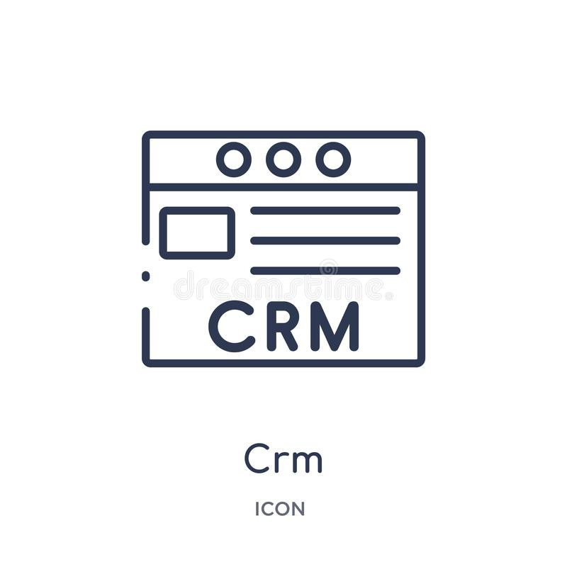 Linear crm icon from Marketing outline collection. Thin line crm icon isolated on white background. crm trendy illustration vector illustration