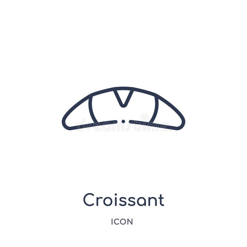 Linear croissant icon from Food outline collection. Thin line croissant icon isolated on white background. croissant trendy stock illustration