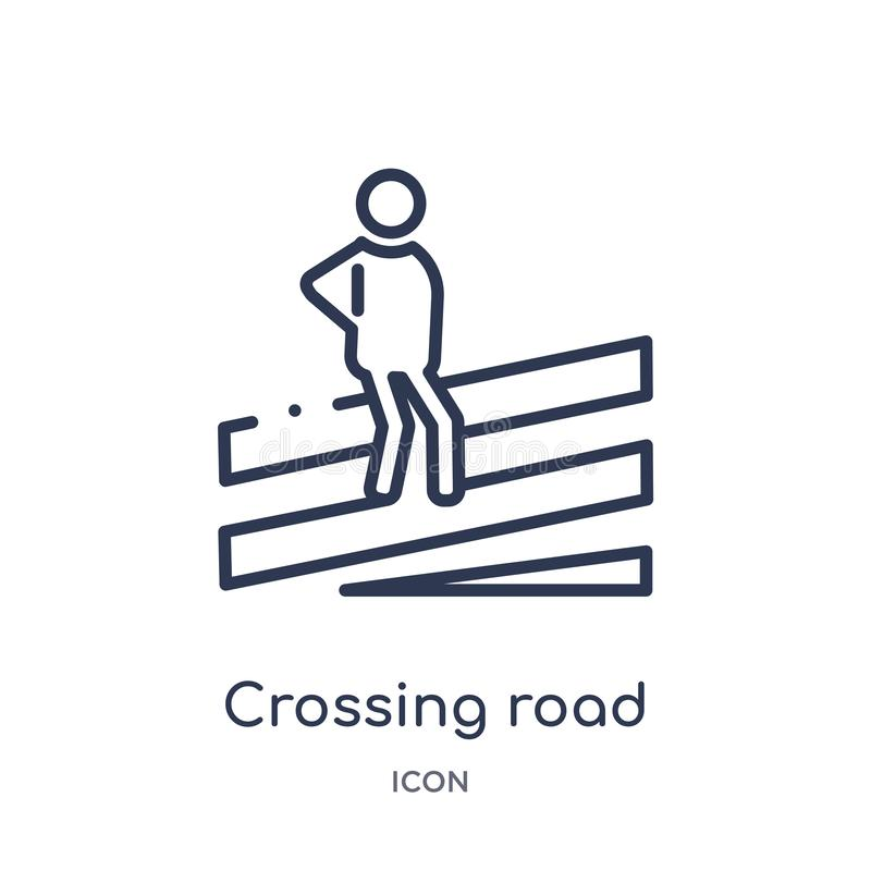 Linear crossing road caution icon from Maps and Flags outline collection. Thin line crossing road caution icon isolated on white vector illustration
