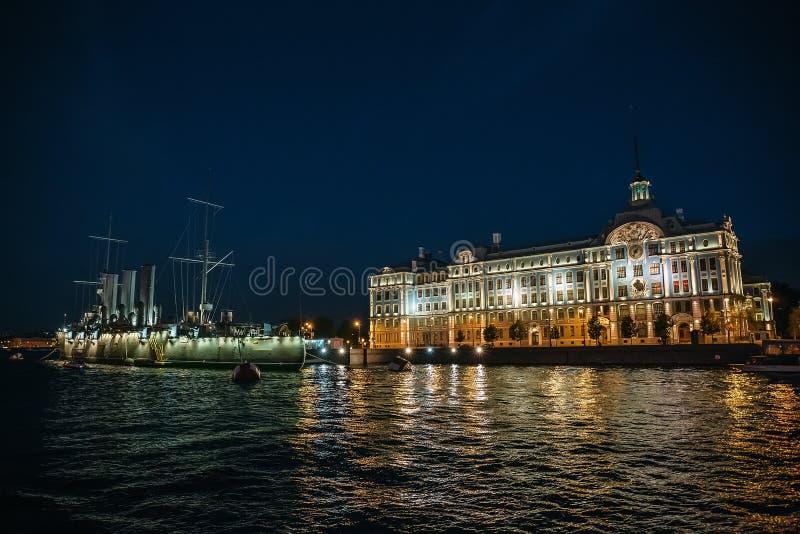 Linear cruiser Aurora or Avrora at night , St. Petersburg royalty free stock photo