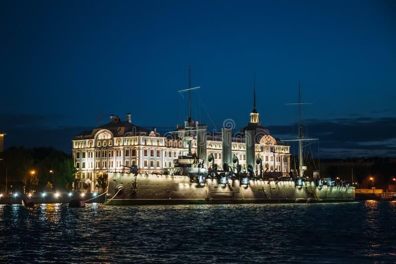 Linear cruiser Aurora or Avrora at night, St. Petersburg royalty free stock photography