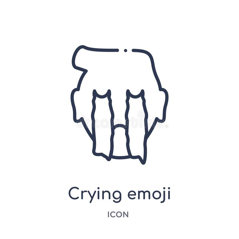 Linear crying emoji icon from Emoji outline collection. Thin line crying emoji vector isolated on white background. crying emoji vector illustration