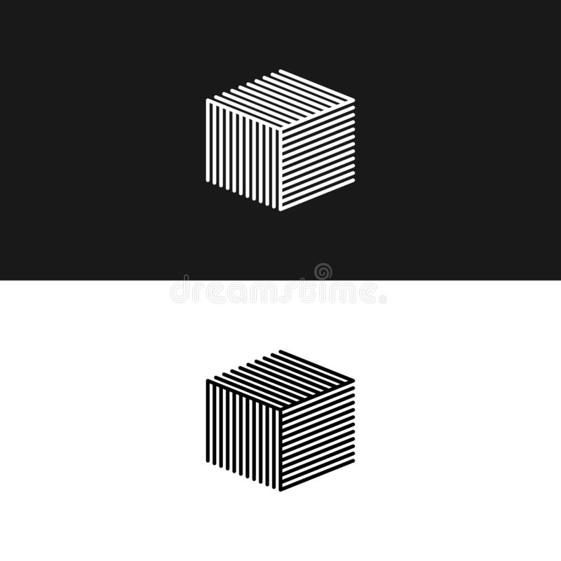 Linear cube logo 3D isometric architecture box maze structure, interior building hipster minimal geometric shape design element royalty free illustration