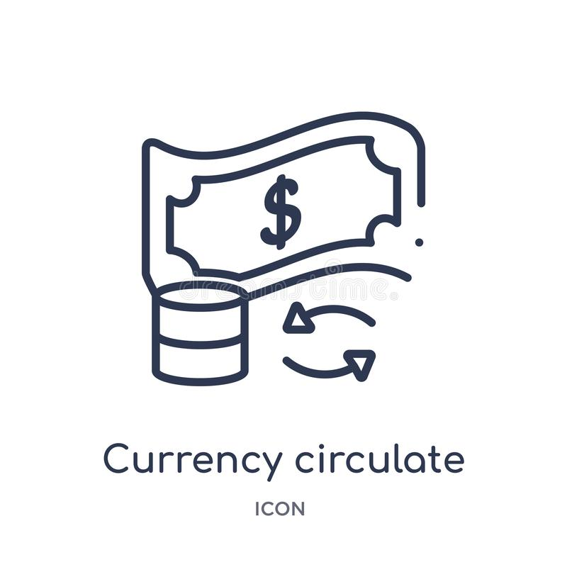 Linear currency circulate icon from Cryptocurrency economy and finance outline collection. Thin line currency circulate vector royalty free illustration